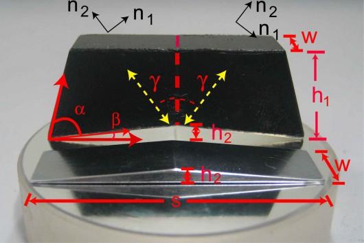 実験で使われた2種類のカルサイト。屈折率をもとに形状を計算して制作している。